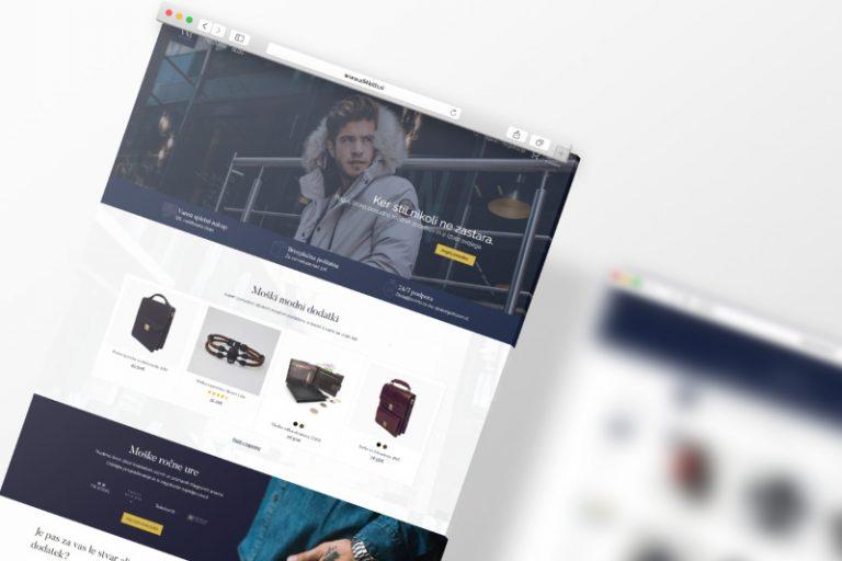 Vhodna stran izdelane spletne trgovine Virum.