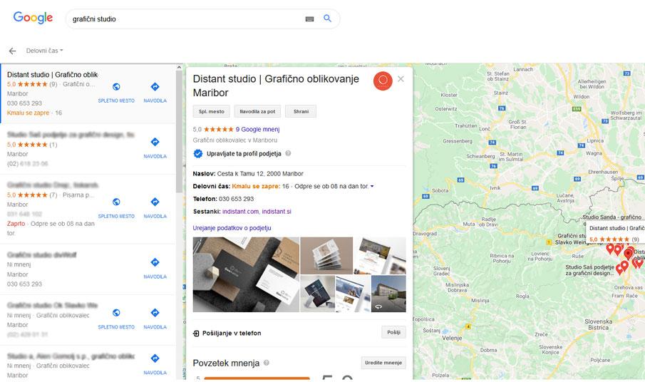 Izbran izvajalec storitve v Google my business