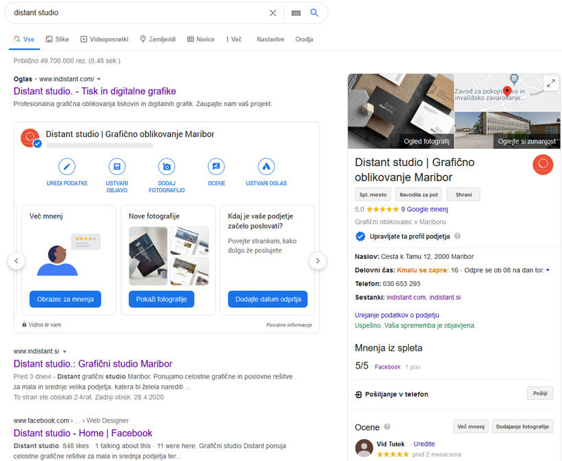Prikaz predstavitve podjetja z Google my business